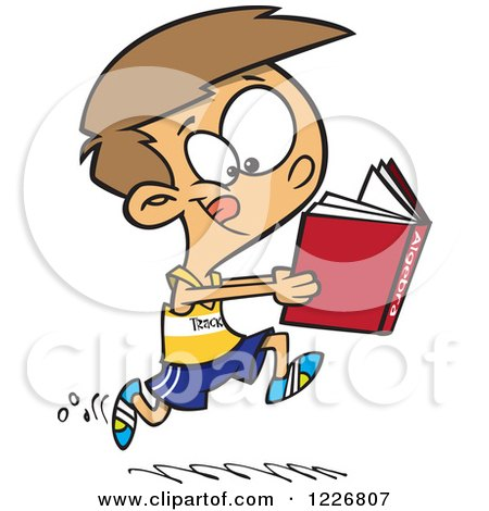 Clipart of a Cartoon Boy Running Track and Reading an Algebra Book - Royalty Free Vector Illustration by toonaday