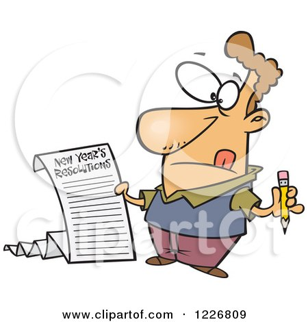Clipart of a Cartoon Man Writing a Long New Years Resolutions List ...