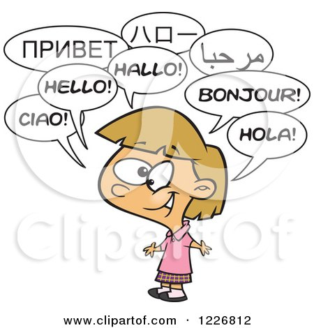 Clipart of a Cartoon Happy Talking Multilingual Girl - Royalty Free Vector Illustration by toonaday