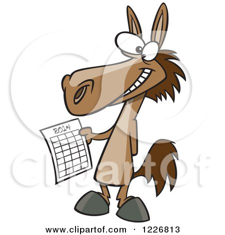 Clipart of a Cartoon Happy Horse Holding a 2014 New Year Calendar - Royalty Free Vector Illustration by toonaday