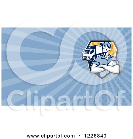Clipart of a Removal or Delivery Man and Truck Background or Business Card Design - Royalty Free Illustration by patrimonio