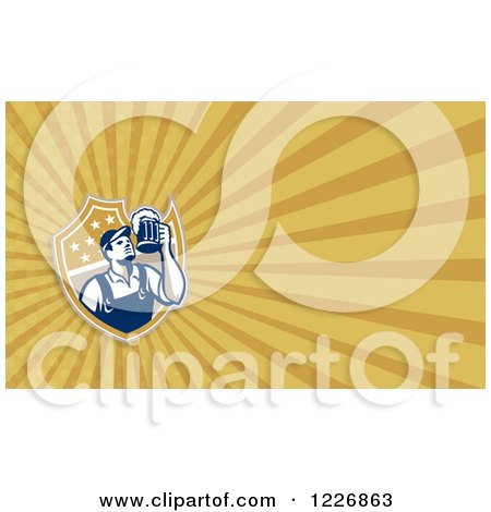 Clipart of a Worker Having a Beer Background or Business Card Design - Royalty Free Illustration by patrimonio