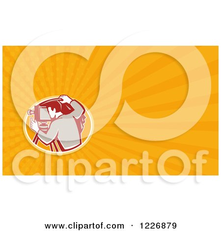 Clipart of a Camera Man Background or Business Card Design - Royalty Free Illustration by patrimonio