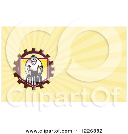 Clipart of a Cyclist Crossfit Man Background or Business Card Design - Royalty Free Illustration by patrimonio