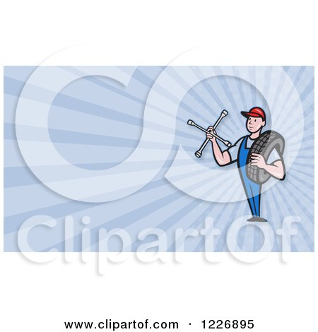 Clipart of a Mechanic with a Tire and Socket Wrench Background or Business Card Design - Royalty Free Illustration by patrimonio