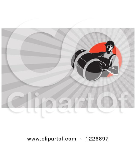 Clipart of a Man Carrying a Beer Keg Background or Business Card Design - Royalty Free Illustration by patrimonio