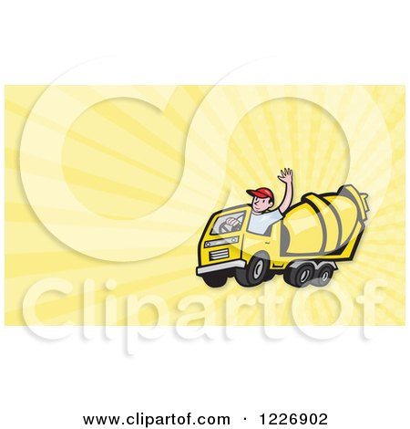 Clipart of a Cement Mixer Truck Driver and Rays Background or Business Card Design - Royalty Free Illustration by patrimonio