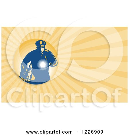 Clipart of a Police Man and Dog Background or Business Card Design - Royalty Free Illustration by patrimonio