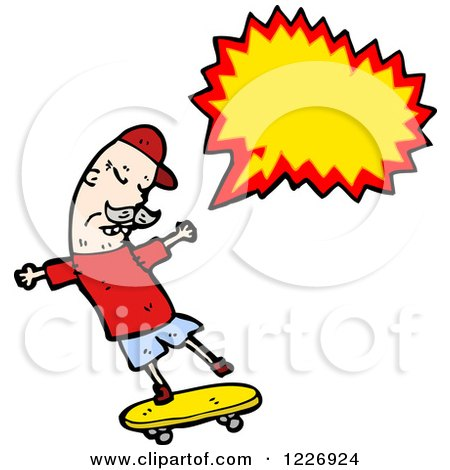 Clipart of a Talking Skateboarding Man - Royalty Free Vector Illustration by lineartestpilot