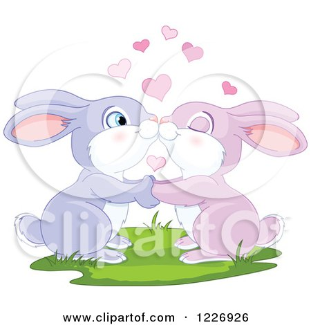 Clipart of a Cute Valentine Bunny Rabbit Couple Kissing - Royalty Free Vector Illustration by Pushkin
