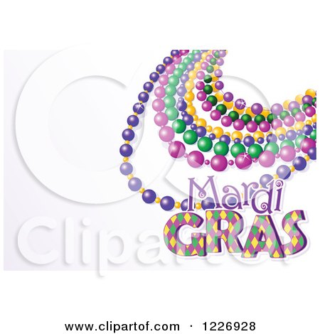 Clipart of a Mardi Gras Background with Beads and Text Space - Royalty Free Vector Illustration by Pushkin