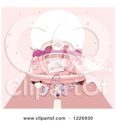 Clipart of a Couple Driving Away in a Pink VW Slug Bug Wedding Car with a Just Married Sign - Royalty Free Vector Illustration by Pushkin
