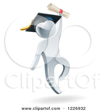 Clipart of a 3d Silver Man Graduate Jumping with a Diploma - Royalty Free Vector Illustration by AtStockIllustration