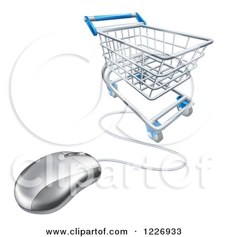 Clipart of a 3d Shopping Cart and Connected Computer Mouse - Royalty Free Vector Illustration by AtStockIllustration