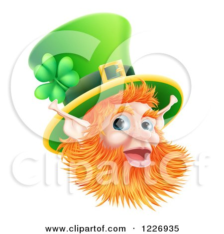 Clipart Of A Happy St Patricks Day Leprechaun Wearing A Top Hat Royalty Free Vector Illustration