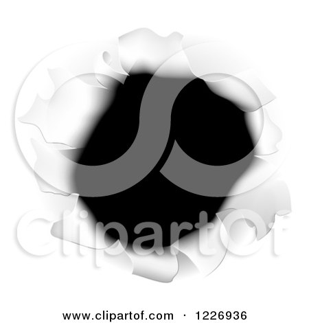 Clipart of a Hole Torn Through White Paper - Royalty Free Vector Illustration by AtStockIllustration