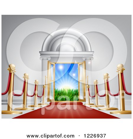 Clipart of a Red Carpet and Poles Leading to a Doorway - Royalty Free Vector Illustration by AtStockIllustration