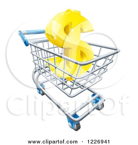 Clipart of a Gold Dollar Symbol in a Shopping Cart - Royalty Free Vector Illustration by AtStockIllustration