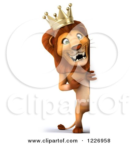 Clipart of a 3d Lion King Looking Around a Sign - Royalty Free Illustration by Julos