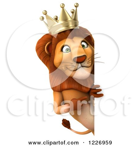 Clipart of a 3d Lion King Looking Around a Sign 2 - Royalty Free Illustration by Julos
