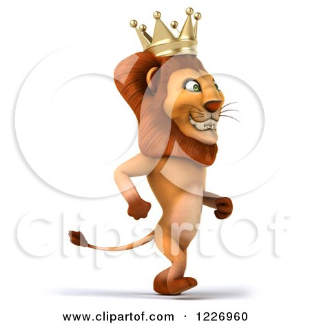 Clipart of a 3d Lion King Walking Upright - Royalty Free Illustration by Julos