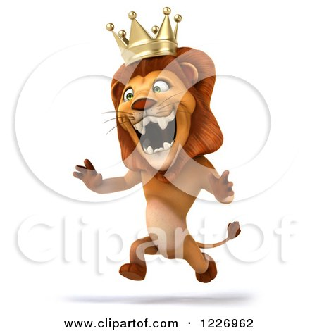 Clipart of a 3d Roaring Lion King Running Upright - Royalty Free Illustration by Julos