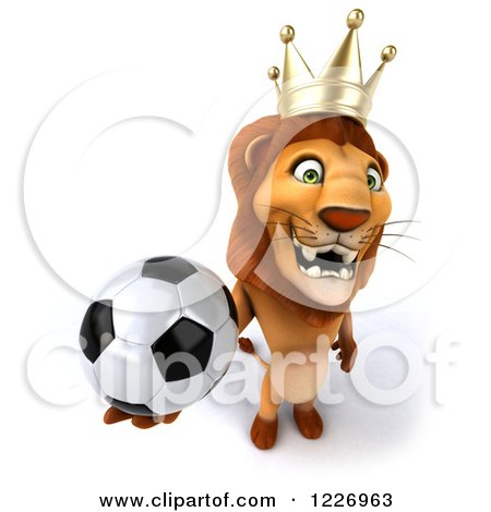 Clipart of a 3d Lion King Holding a Soccer Ball - Royalty Free Illustration by Julos