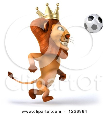 Clipart of a 3d Lion King Playing Soccer - Royalty Free Illustration by Julos