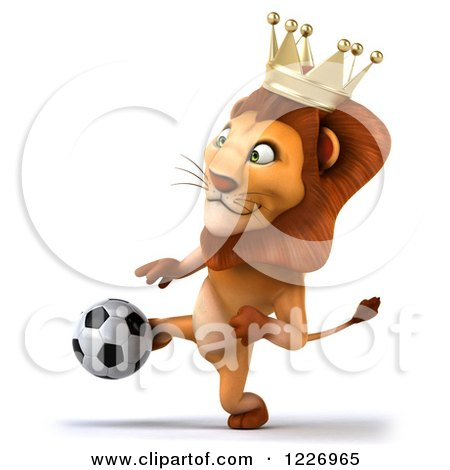 Clipart of a 3d Lion King Playing Soccer 2 - Royalty Free Illustration by Julos