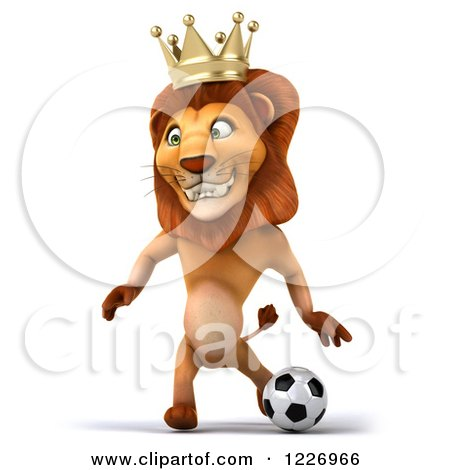Clipart of a 3d Lion King Playing Soccer 3 - Royalty Free Illustration by Julos