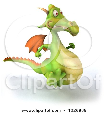 Clipart of a 3d Green Dragon Running - Royalty Free Illustration by Julos