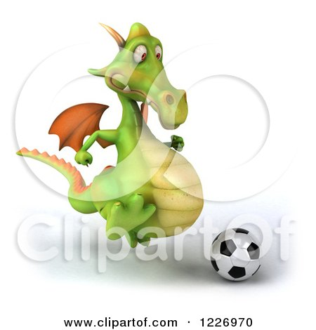 Clipart of a 3d Green Dragon Playing Soccer - Royalty Free Illustration by Julos