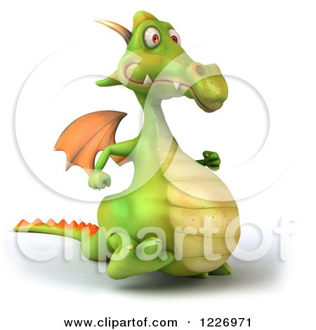 Clipart of a 3d Green Dragon Walking - Royalty Free Illustration by Julos