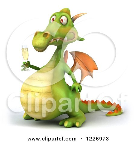Clipart of a 3d Green Dragon Toasting with Champagne - Royalty Free Illustration by Julos