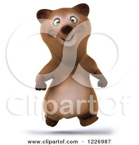 Clipart of a 3d Brown Bear Mascot Running Forward - Royalty Free Illustration by Julos