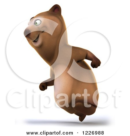 Clipart of a 3d Brown Bear Mascot Running to the Left - Royalty Free Illustration by Julos