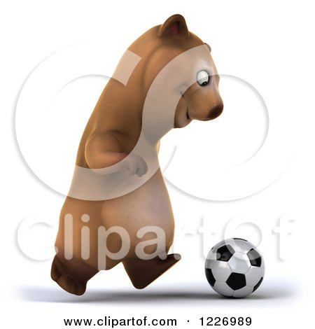 Clipart of a 3d Brown Bear Mascot Playing Soccer 6 - Royalty Free Illustration by Julos