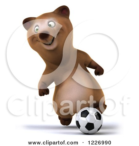 Clipart of a 3d Brown Bear Mascot Playing Soccer 7 - Royalty Free Illustration by Julos