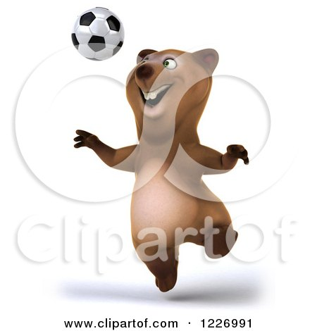 Clipart of a 3d Brown Bear Mascot Playing Soccer 8 - Royalty Free Illustration by Julos