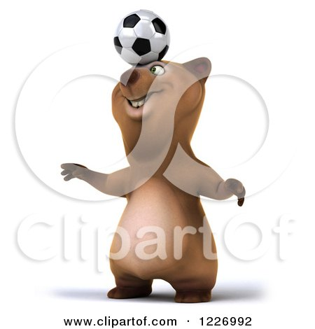 Clipart of a 3d Brown Bear Mascot Playing Soccer 9 - Royalty Free Illustration by Julos