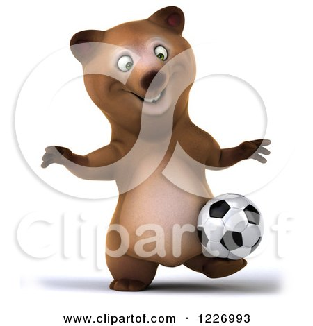 Clipart of a 3d Brown Bear Mascot Playing Soccer 10 - Royalty Free Illustration by Julos