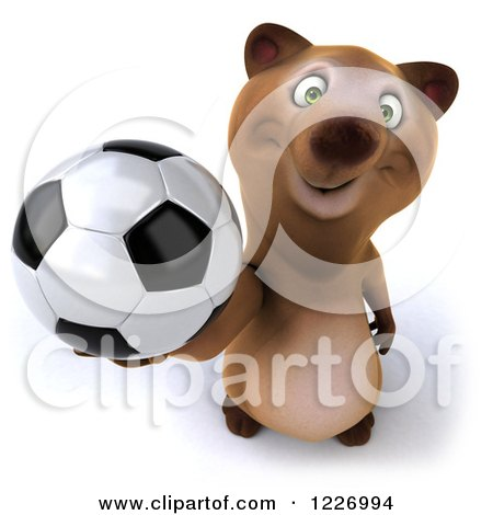 Clipart of a 3d Brown Bear Mascot Playing Soccer 11 - Royalty Free Illustration by Julos