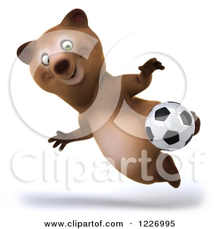 Clipart of a 3d Brown Bear Mascot Playing Soccer 12 - Royalty Free Illustration by Julos