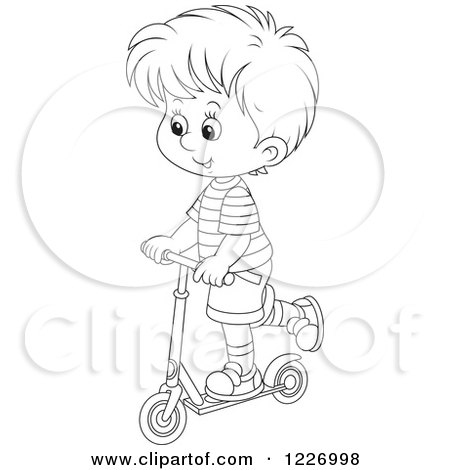 Clipart of an Outlined Happy Boy Riding a Scooter - Royalty Free Vector Illustration by Alex Bannykh