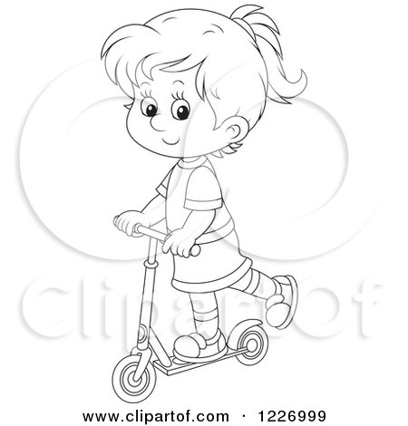 Clipart of an Outlined Happy Girl Riding a Scooter - Royalty Free Vector Illustration by Alex Bannykh