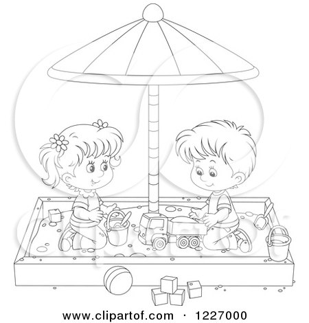 Clipart of an Outlined Girl and Boy Playing in a Sand Box - Royalty Free Vector Illustration by Alex Bannykh