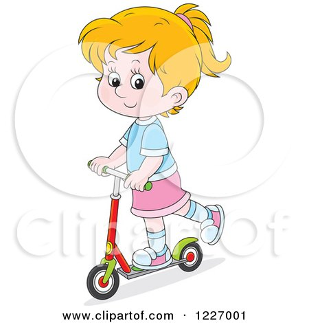 Clipart of a Happy Cacuasian Girl Riding a Scooter - Royalty Free Vector Illustration by Alex Bannykh