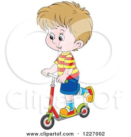 Clipart of a Happy Cacuasian Boy Riding a Scooter - Royalty Free Vector Illustration by Alex Bannykh
