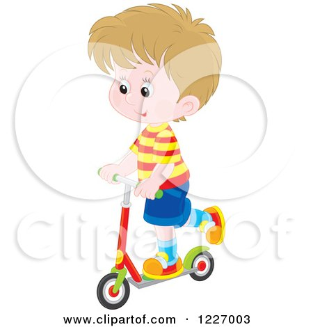 Clipart of a Happy White Boy Riding a Scooter - Royalty Free Vector Illustration by Alex Bannykh