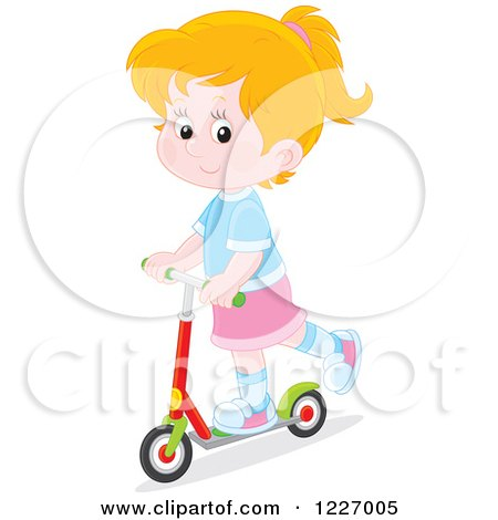 Clipart of a Happy White Girl Riding a Scooter - Royalty Free Vector Illustration by Alex Bannykh